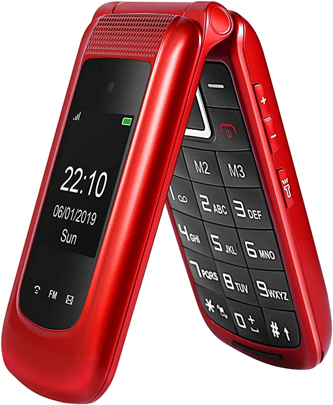 Uleway teléfono Celular Desbloqueado con Tapa 3G, Tarjeta Dual SIM ...