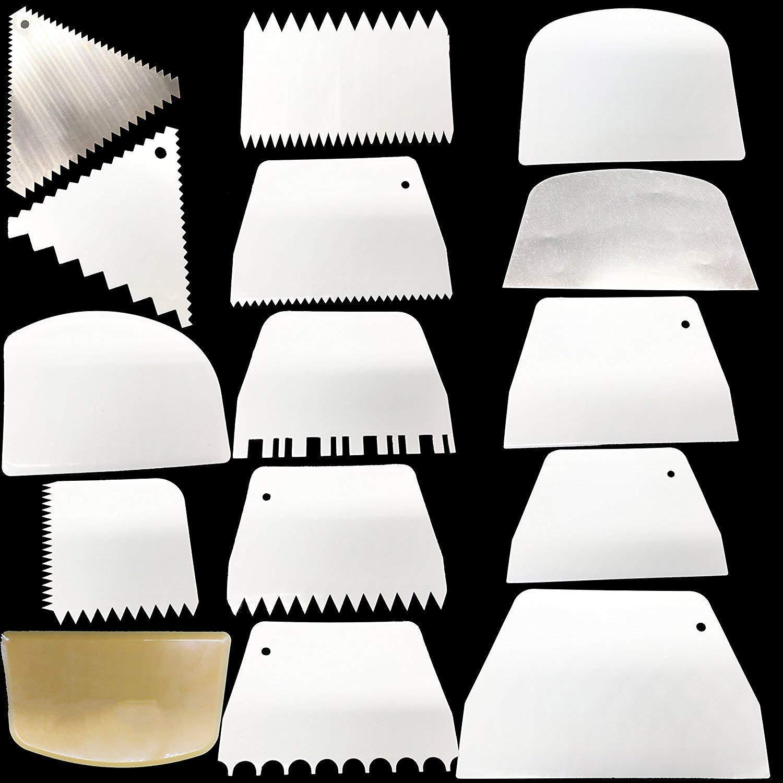 Racloir /à g/âteau 15/pcs//lot Plus lisse Peigne Grattoir Ensemble Edge c/ôt/é g/âteau outils