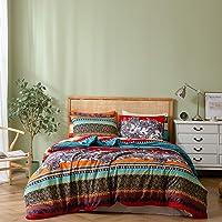 Erosebridal Bohemian Duvet Cover Sets King Size Exotic Aztec Bedding Set Reversible Boho Floral Comforter Cover 3 Pieces…