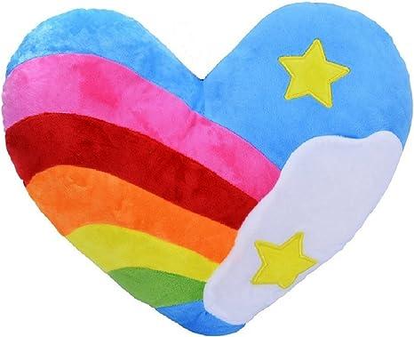 Amazon Com Rainbow Heart Shaped Pillow Decorative Heart Shape Soft Bed Sofa Cushion Plush Throw Pillow Sky Rainbow Kitchen Dining