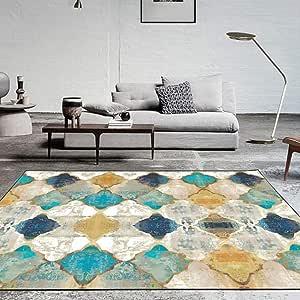 Vintage Area Rug Large Soft Touch Printed Geometric Morocco Floor Mat Large Carpet for Living Room Bedroom (Rectangular,80 x 160cm)
