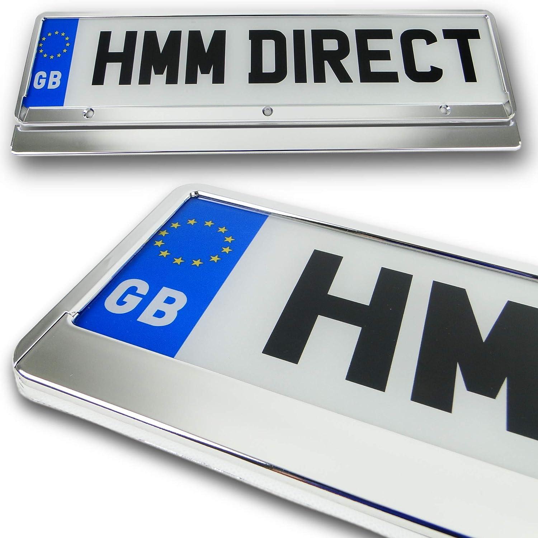 2 x Kennzeichenhalter mit Chrom-Effekt Anh/änger Van SUV f/ür Auto Wohnmobil etc.