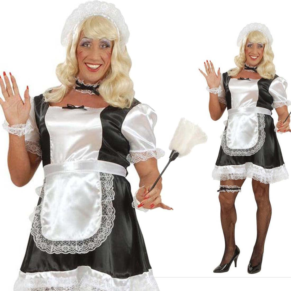 Mens Funny French Maid Stag Night Party Fancy Dress Male Costume