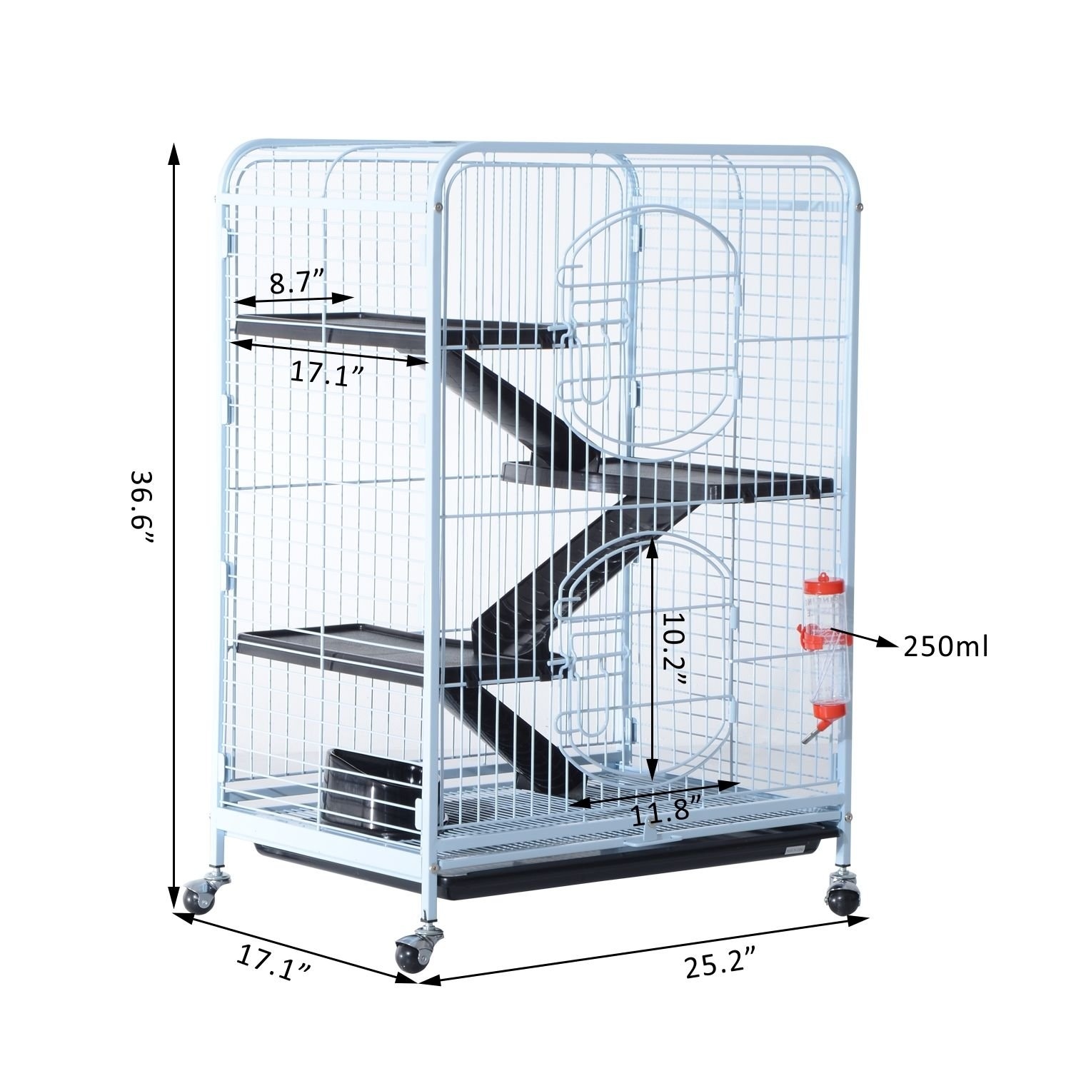 PawHut 37'' 4 Level Indoor Portable Pet Habitat Small Animal Cage Kit With Plastic Shelves And Ramps - White by PawHut (Image #6)