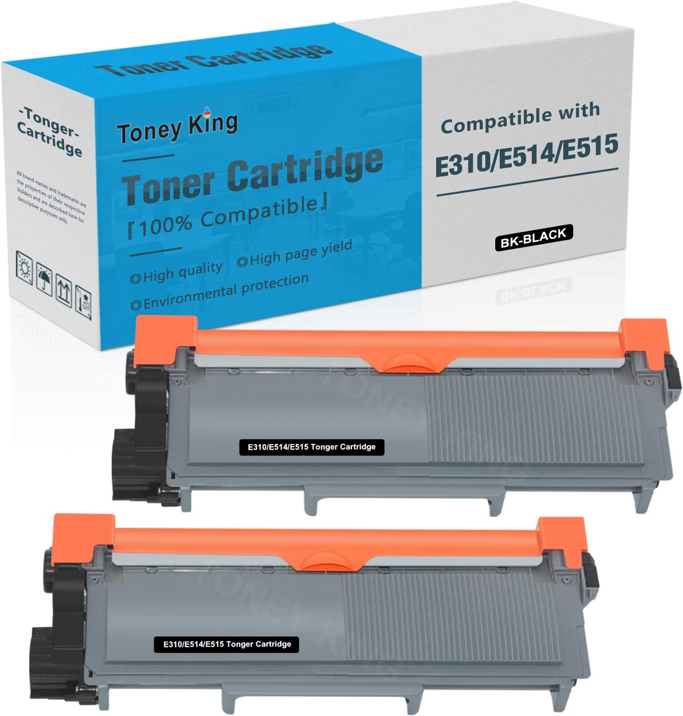 Compatible E310 E514 E515 Toner Cartridge Replacement for Dell E514dw E310dw E515dw E515dn Printer Toner Cartridges ( Dell PVTHG, 593-BBKD, P7RMX, 2,600 Page High Yield, 2PK x Black ) by Toney King