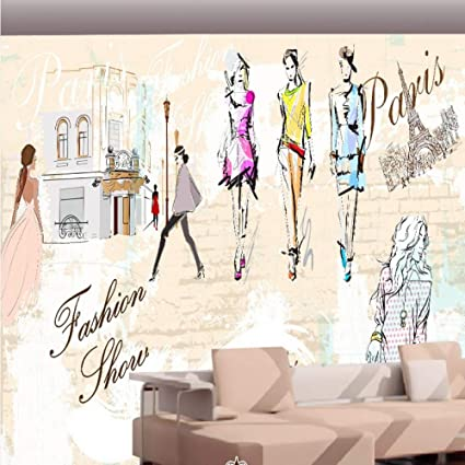 7e450726345 Image Unavailable. Image not available for. Color  Amazhen Custom 3D  Wallpaper Painted Fashion Model Custom Mural Clothing Store Decoration ...