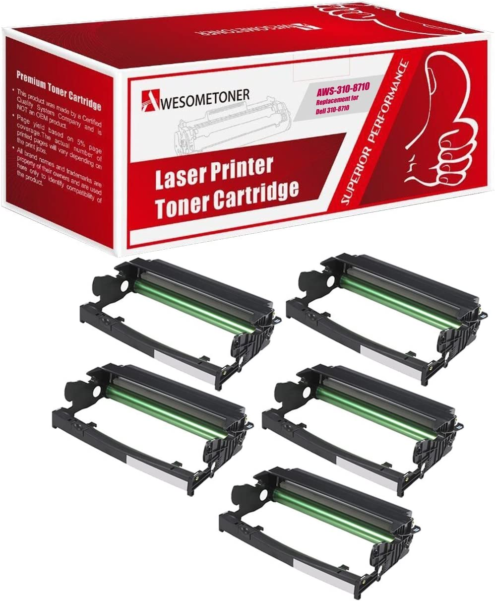 Black, 5-Pack Awesometoner Compatible Drum Cartridge Replacement for Dell 310-8710 310-8703 use with Dell 1720 1720N