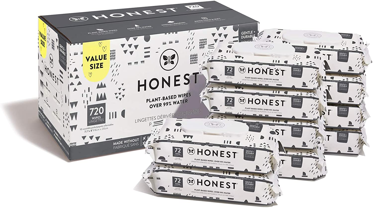 The Honest Company Baby Wipes   Pattern Play   Over 99 Percent Water   Pure & Gentle, 720 Count