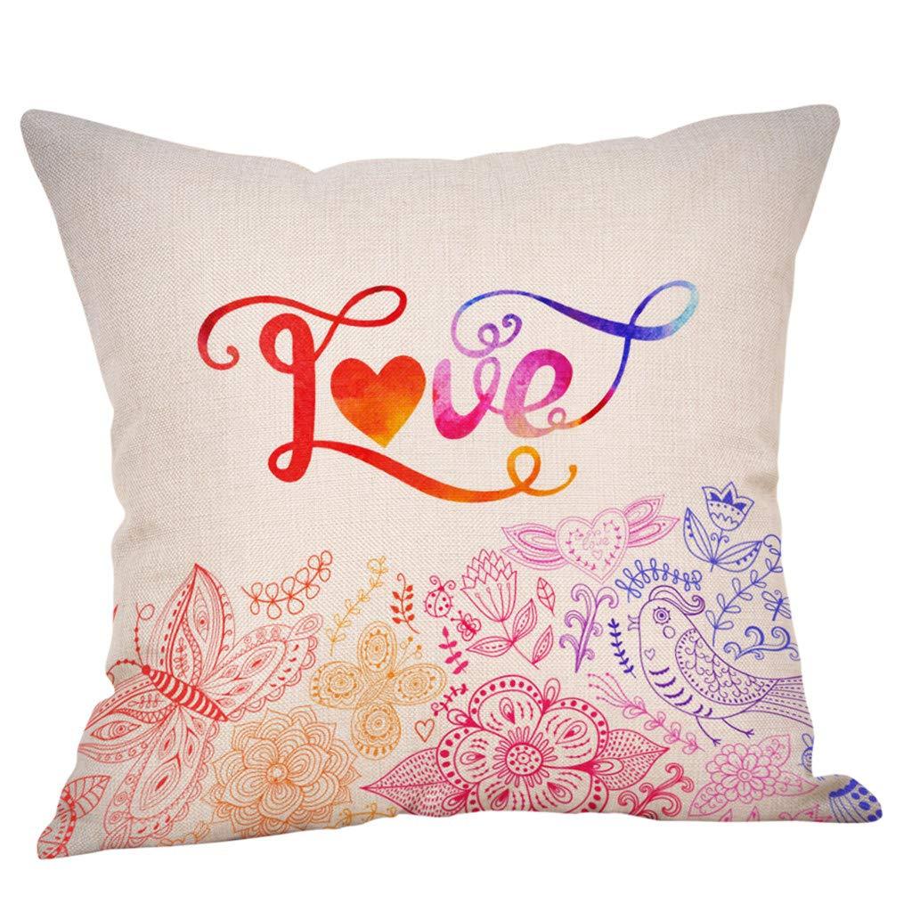 YAYUMI Spring Flower Pillow Case Square Cover Sofa Bed Car Waist Cushion Cover Home Decor