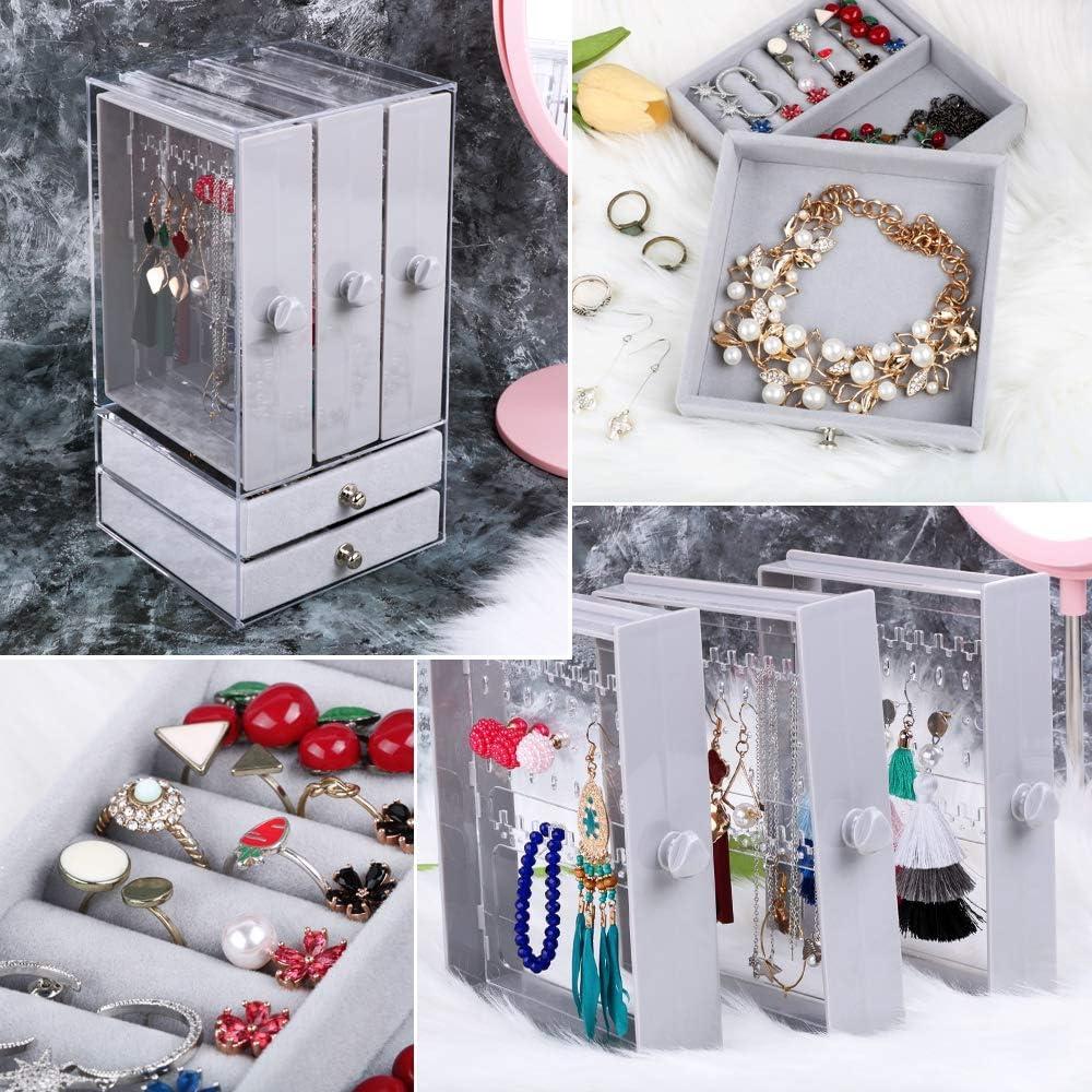 Acrylic Jewelry Storage Box Earrings Organizer Holder with 5 Drawer