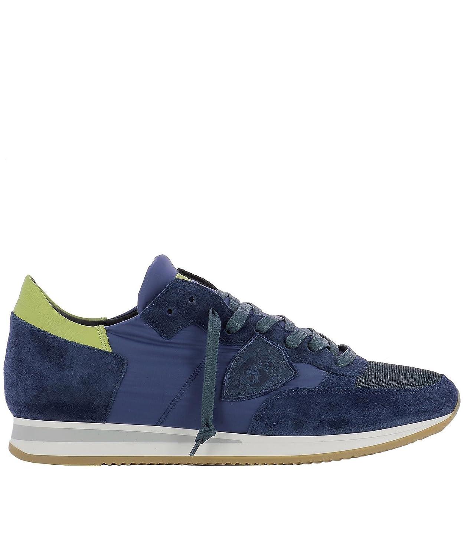 Philippe Model メンズ TRLUW025 ブルー ファブリック 運動靴 B079SJR5W8