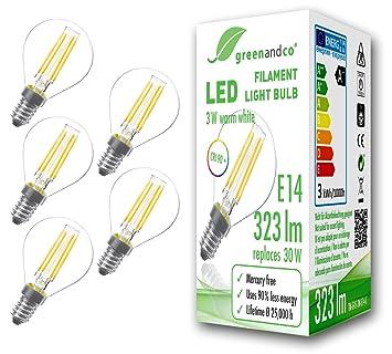 5x Bombilla de filamento LED greenandco® IRC 90+ E14 G45 3W (corresponde a