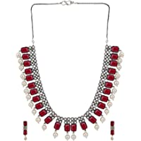 Efulgenz Boho Vintage Antique Ethnic Gypsy Indian Oxidized Silver Crystal Cubic Zirconia Bridal Necklace Earrings…