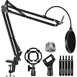 """InnoGear Microphone Stand for Blue Yeti Adjustable Suspension Boom Scissor Arm Stand with 3/8""""to 5/8"""" Screw Adapter Shock Mou"""