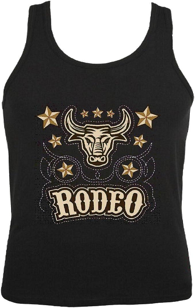 Camisa del músculo Tank Top Red Chief Bull del Rodeo montan el búfalo de Rodeo Occidental Monta de toros Índico Occidental Indios Sin Mangas para Las Mujeres y los Hombres en Negro:
