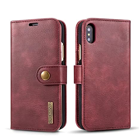 iPhone X Case,DG.MING Genuine Cowhide Leather Wallet Cases for iPhone X/iphone10 Magnetic Detachable Card Slots Phone Folio Flip Back Cover (Red)