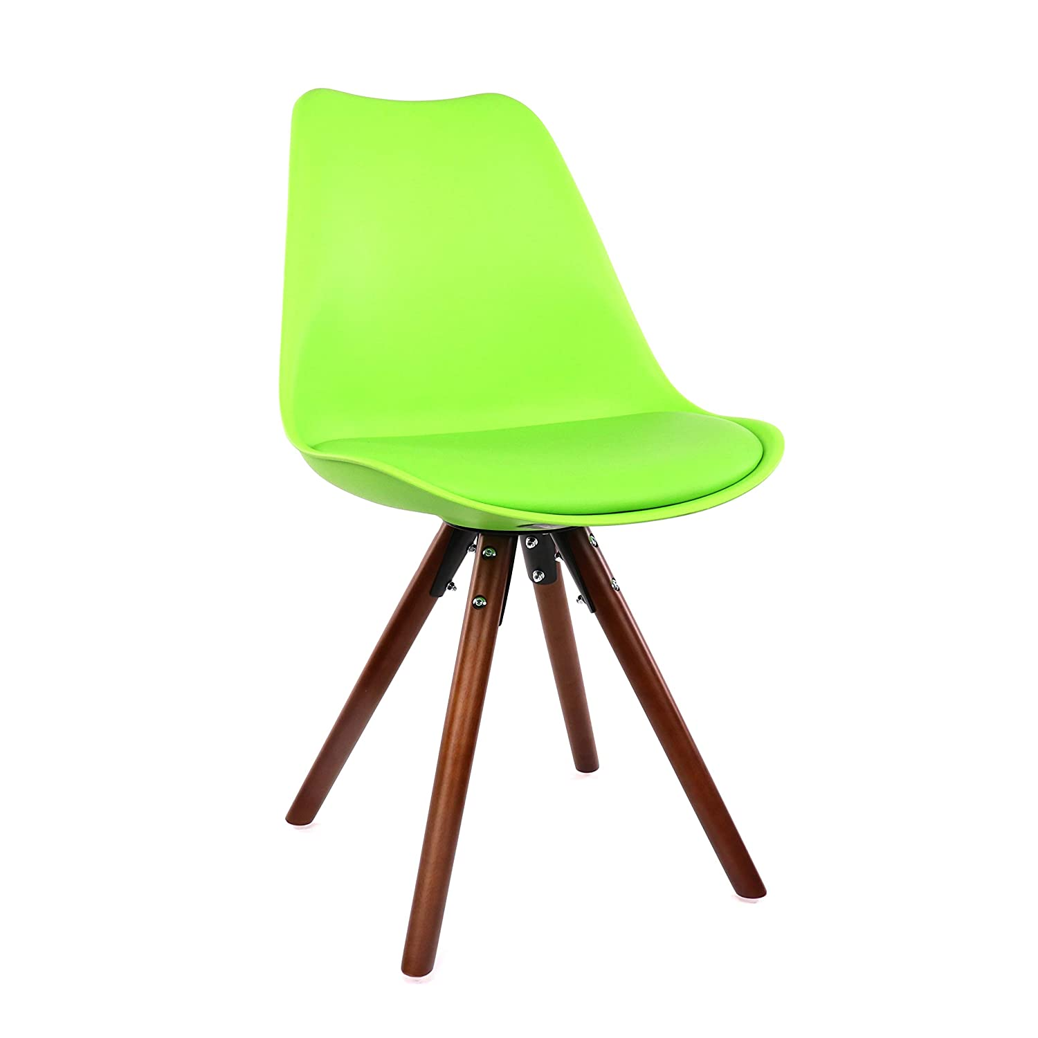 Design Lab MN Midcentury Dining Side Chairs, Set of 2, Green Seat