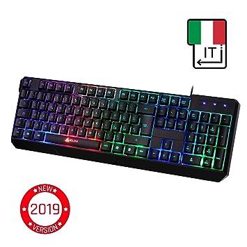 ⭐️KLIM Chroma Teclado Gaming en ITALIA USB - Alto Desempeño - Retroiluminación a Color Estilo Gaming - Teclado para Juegos PC PS4 Windows Mac - Nueva ...