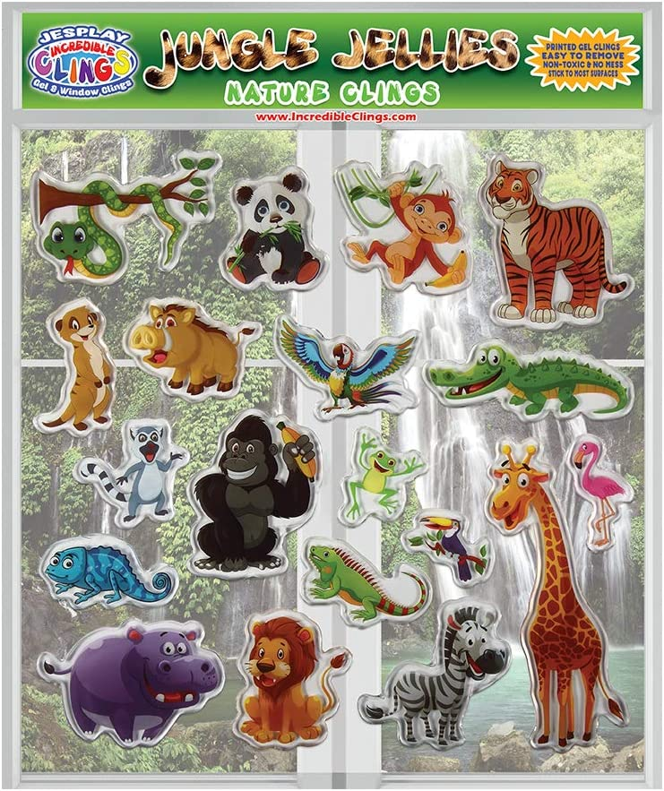 Jungle Jellies Thick Printed Gel Clings – Reusable Glass Window Clings for Kids and Adults - Incredible Gel Decals of Lion, Tiger, Alligator Home, Airplane, Classroom, Nursery Decoration