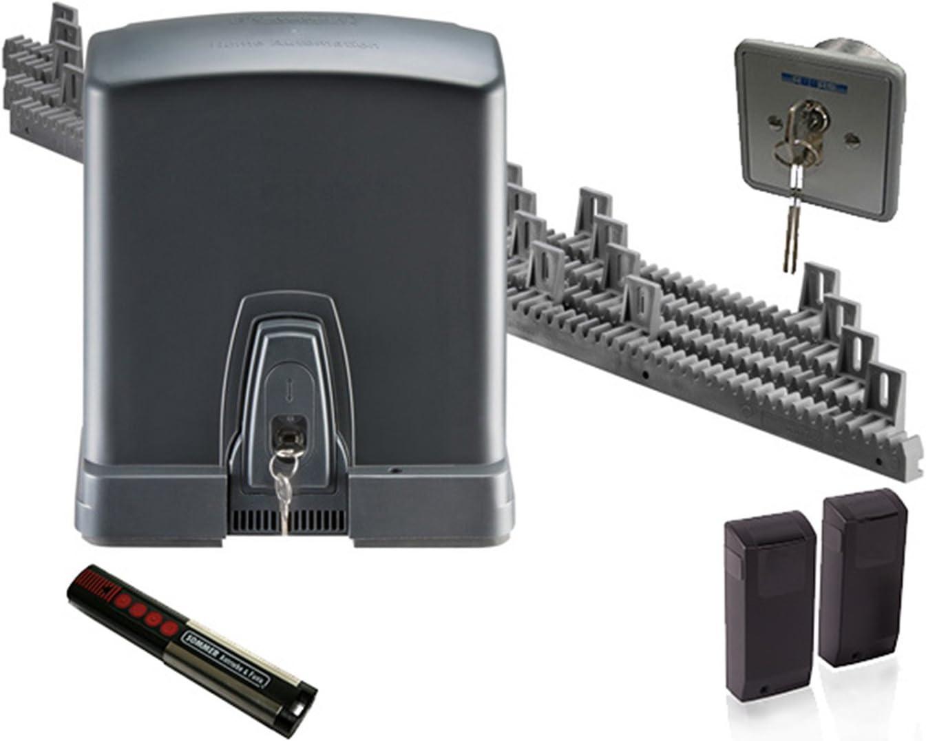De Puertas Correderas (Verano Runner 600 Set 2 con emisor manual y dientes Barras, interruptor de llave y barrera de luz para puertas correderas (hasta 8 m ancho, de automatización, hoftor, apertura