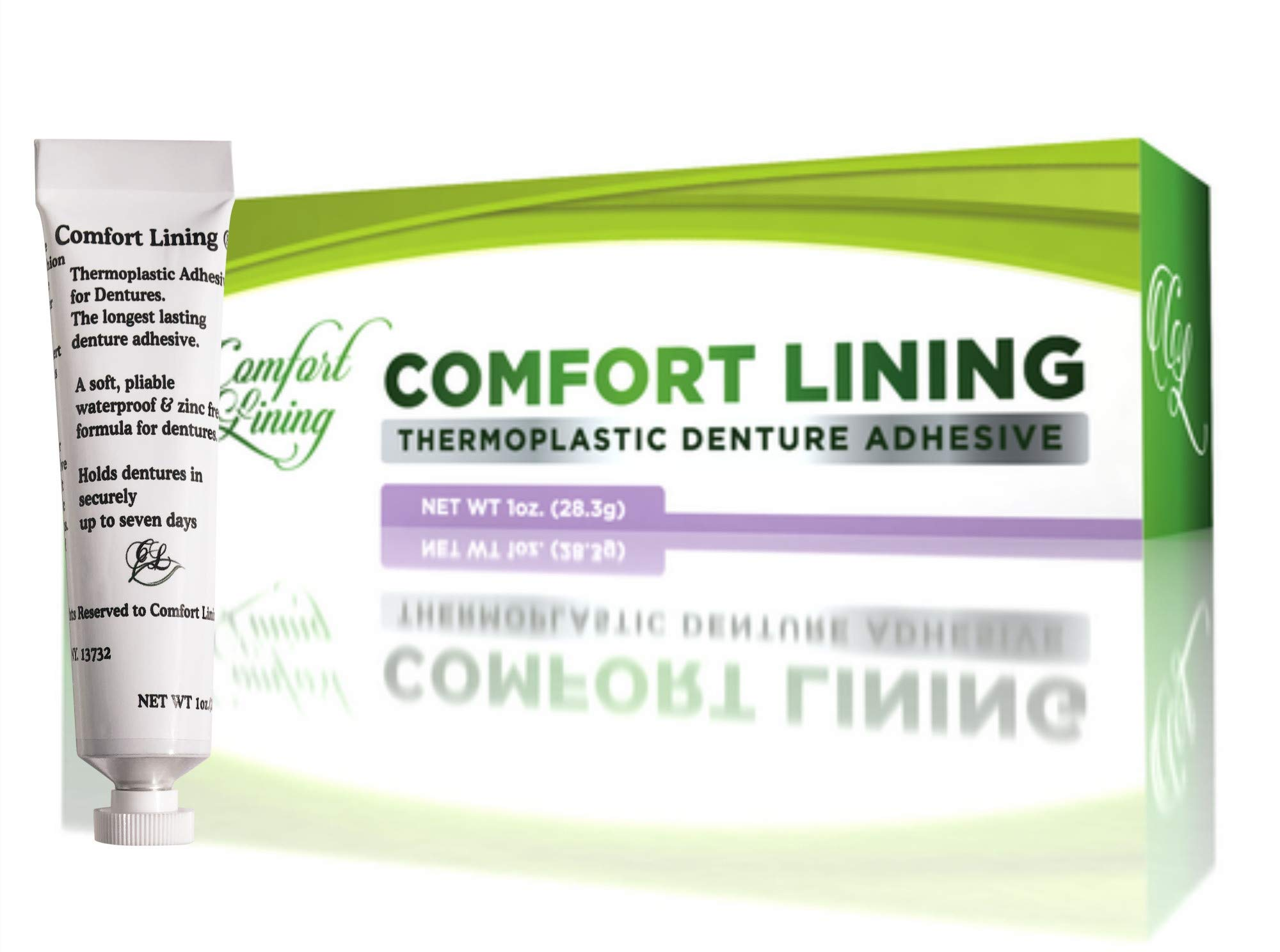 Comfort Lining a Secure Thermoplastic Denture Adhesive Used for Tightening Loose Dentures 1 oz. 28 grams