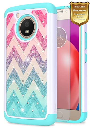free shipping bf7fa 9f904 Moto E4 Case with Tempered Glass Screen Protector for Girls Women Kids,  NageBee Glitter Diamond Hybrid Cover Bling Studded Rhinestone Girls Cute  Case ...