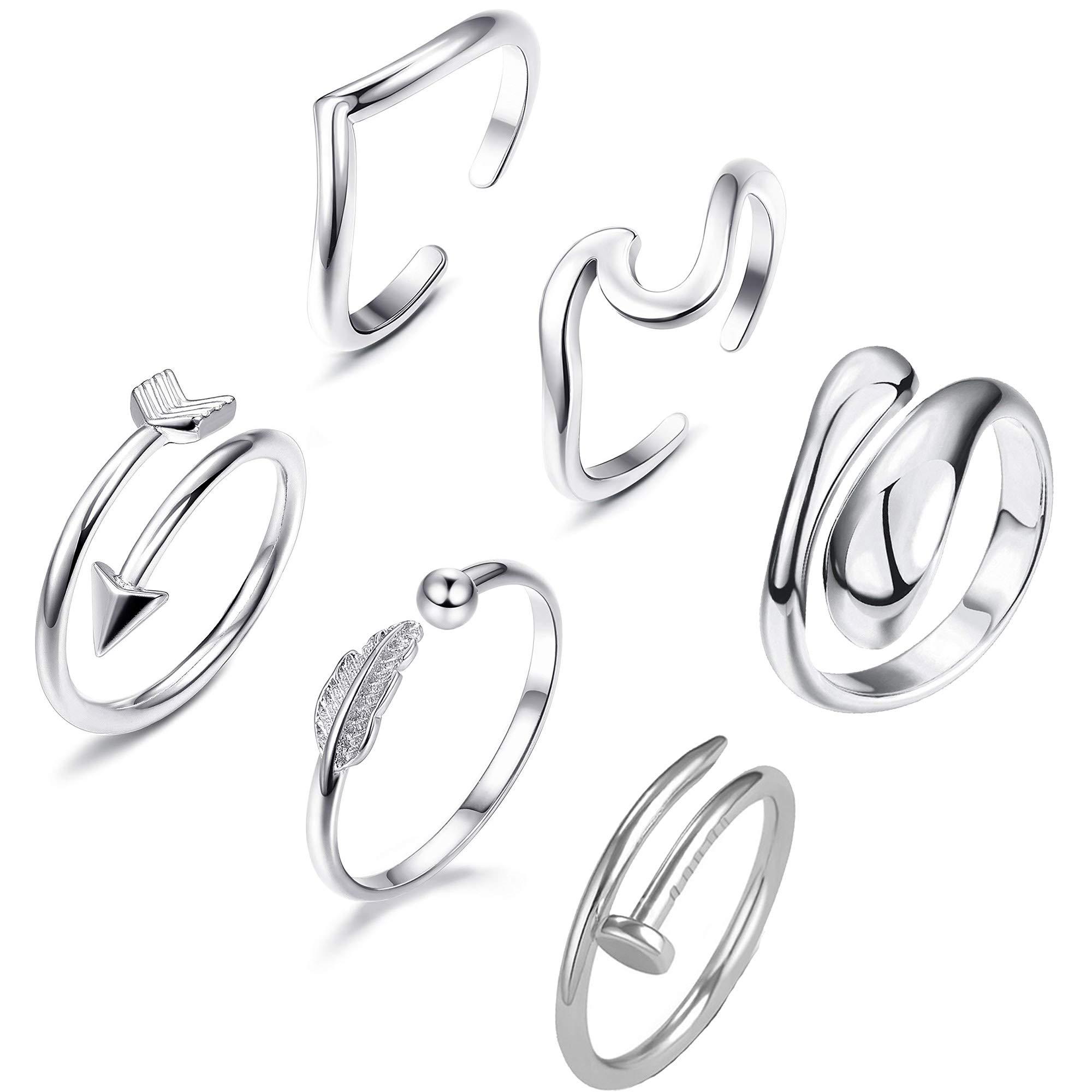 MJ 6 Pcs Adjustable Rings Set Arrow Wave Teardrop Stackable Thumb Rings for Women Minimalist Toe Finger Tail Band Adjustable Rings Hawaiian Jewelry