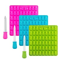 3 Pack 53 Cavities Candy Silicone Moulds & Ice Cube Trays - Gummy Bear Moulds with 3 Dropper Pipettes for Sweets, Jelly, Soap, Chocolate Making and Kids Party