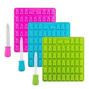 Moldes de silicona para caramelos y bandejas para hielos, 3 unidades de 53 cavidades.