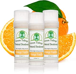 product image for Green Tidings Natural Deodorant - Orange Vanilla 2.7 oz. (3 Pack) - Extra Strength, All Day Protection - Vegan - Cruelty-Free - Aluminum Free - Paraben Free -Organic- Non-Toxic - Solid Lotion Bar Tube