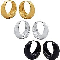 Fresh Vibes Triplet Combo of Salman Khan Inspired Kaju Bali Ear Rings for Men - Fancy Party Wear Boys Earrings Set of Black, Silver & Golden Plating with Piercing