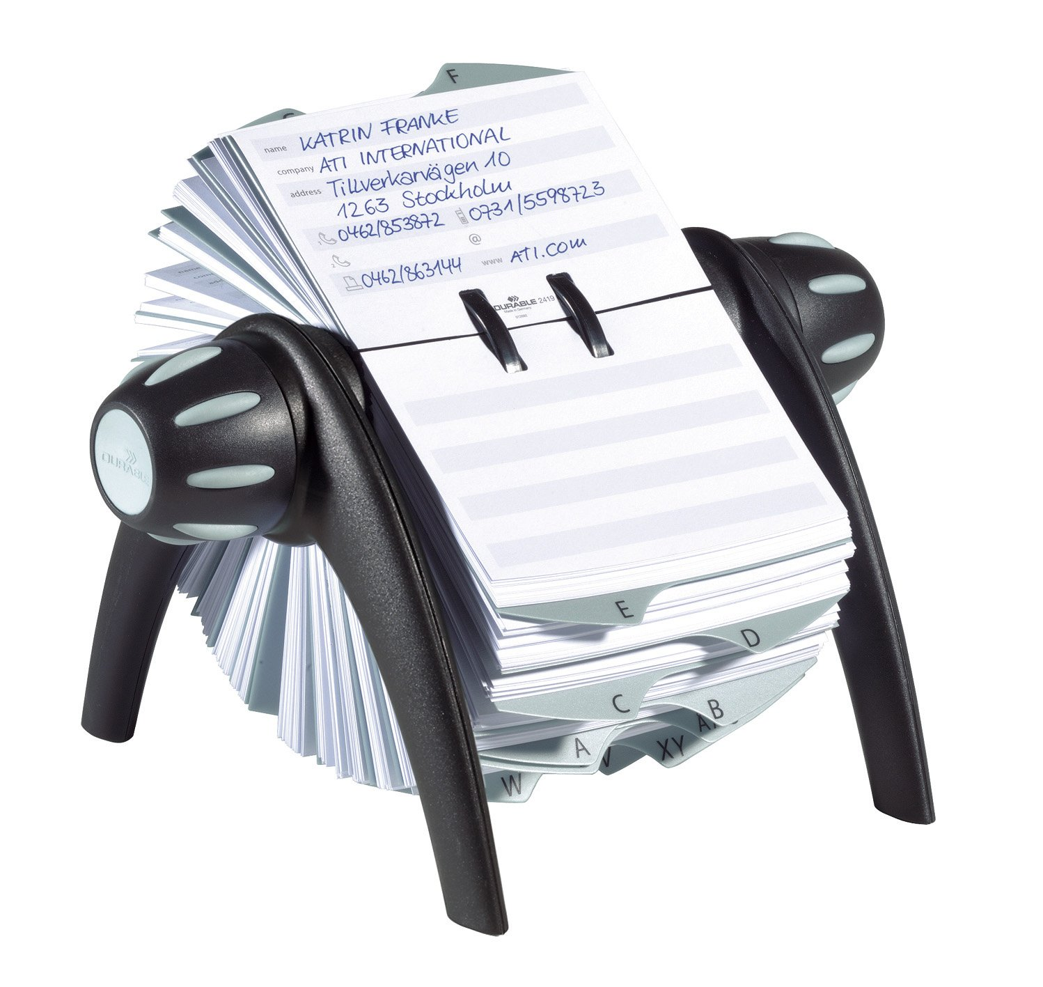 DURABLE TELINDEX, Black Flip Rotary Address Card File, 500 Double-Sided Cards, 25 Alphabetical Dividers (241601)