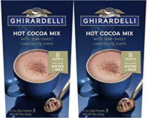 Ghirardelli Hot Cocoa with Semi-Sweet Chocolate Chips - 2 boxes with 8 packets each