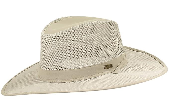 57f3881ca002a5 Stetson No Fly Zone Big Brim Mesh Safari Hat w/ Chin Cord (Khaki ...