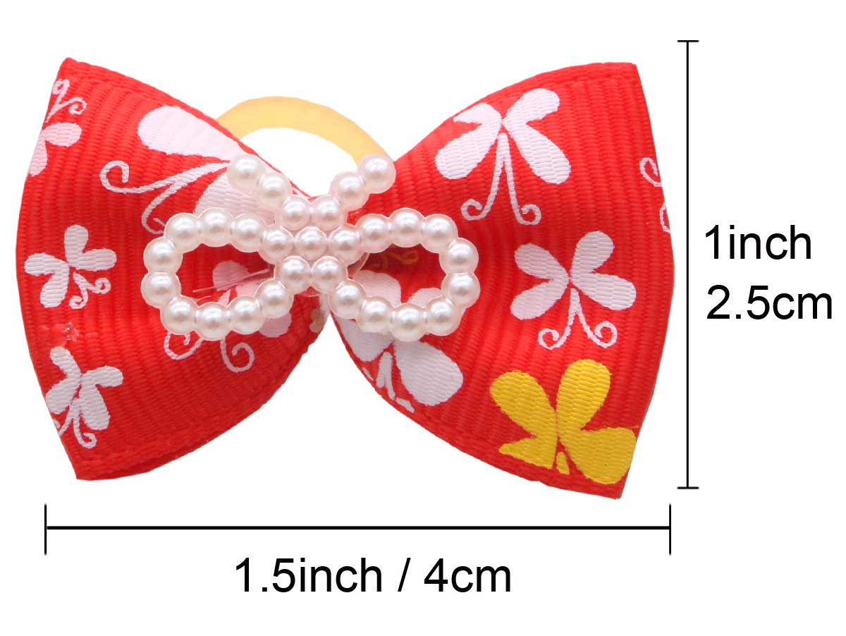 YOY 50pcs/25 Pairs Adorable Grosgrain Ribbon Pet Dog Hair Bows with Rubber Bands - Puppy Topknot Cat Kitty Doggy Grooming Hair Accessories Bow knots Headdress Flowers Set for Groomer by YOY (Image #6)