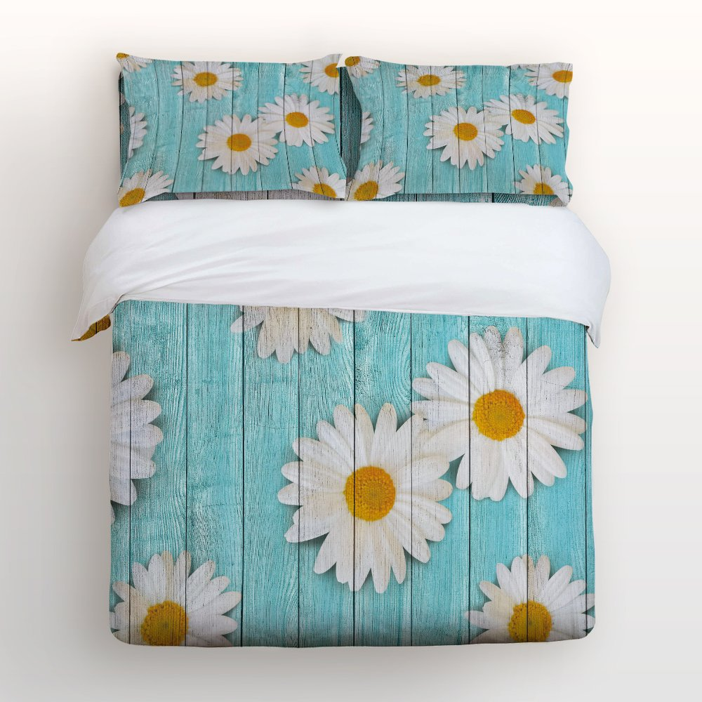 Libaoge 4 Piece Bed Sheets Set, White Daisy Flower on Rustic Old Barn Wood Design, 1 Flat Sheet 1 Duvet Cover and 2 Pillow Cases