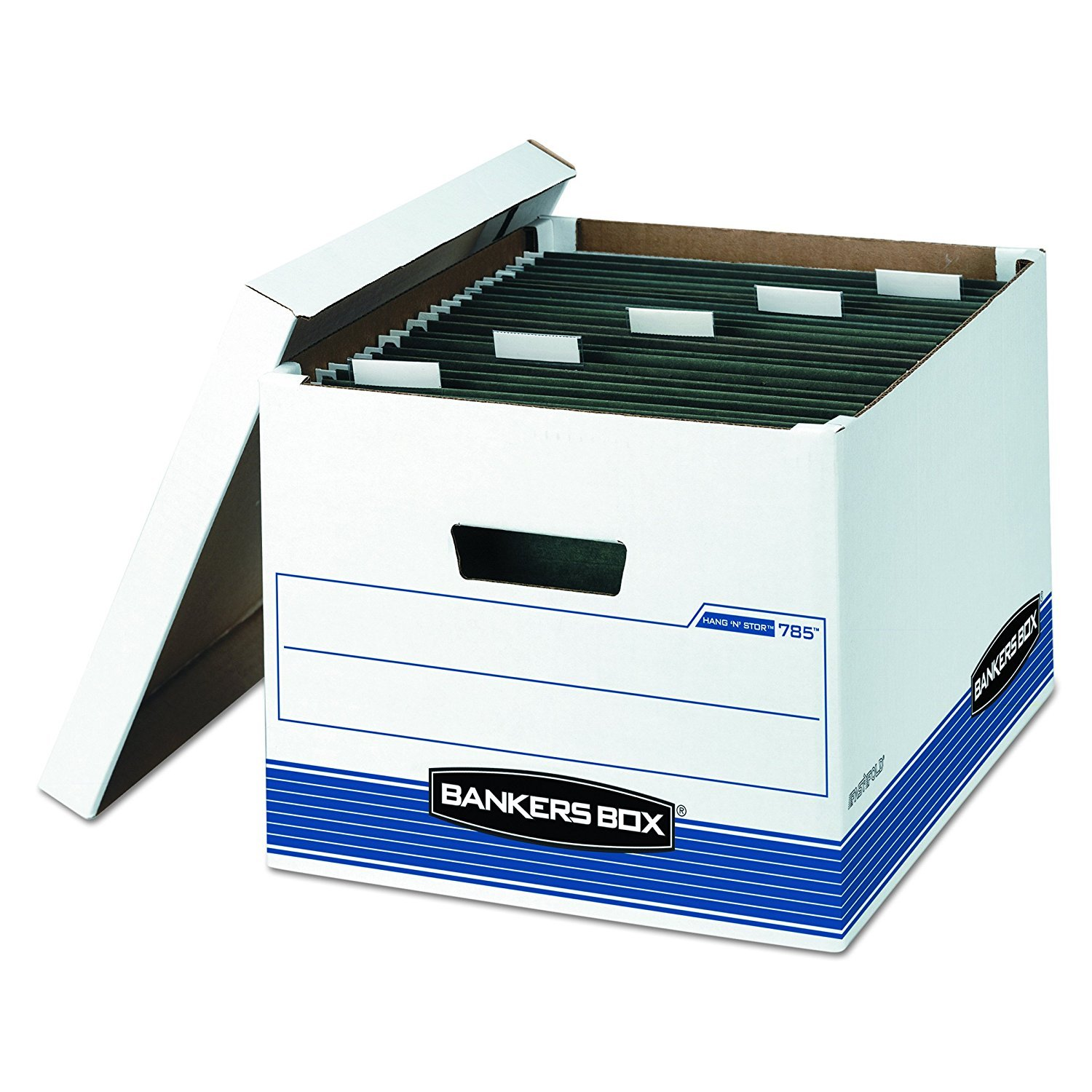 Bankers Box 00785 HANG'N'STOR Storage Box, Legal/Letter, Lift-off Lid, White/Blue (Case of 4) (Case of 20)