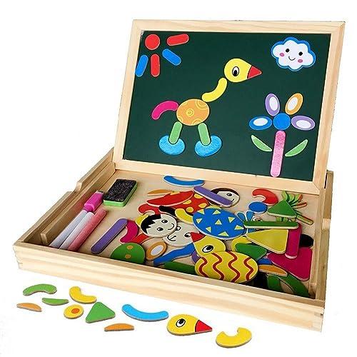 Irady Puzzles en Bois Magnétique Jouets Educatif avec Tableau Noir Double Face pour Bambin Enfants Garcon Filles 3 4 5 Ans