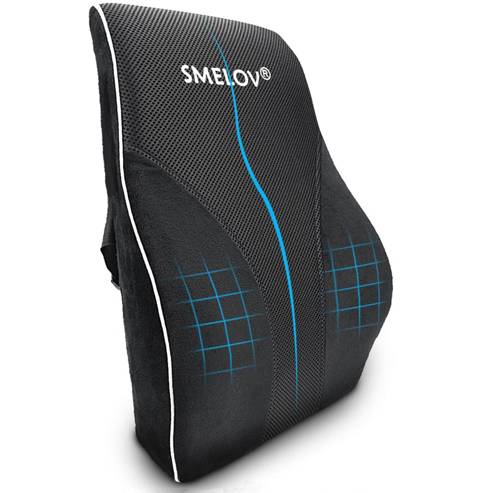 SMELOV Lumbar Support Back Cushion, Memory Foam Orthopedic Lumbar Pillow for Office Chair or Car,Help Lower back Pain Relief.