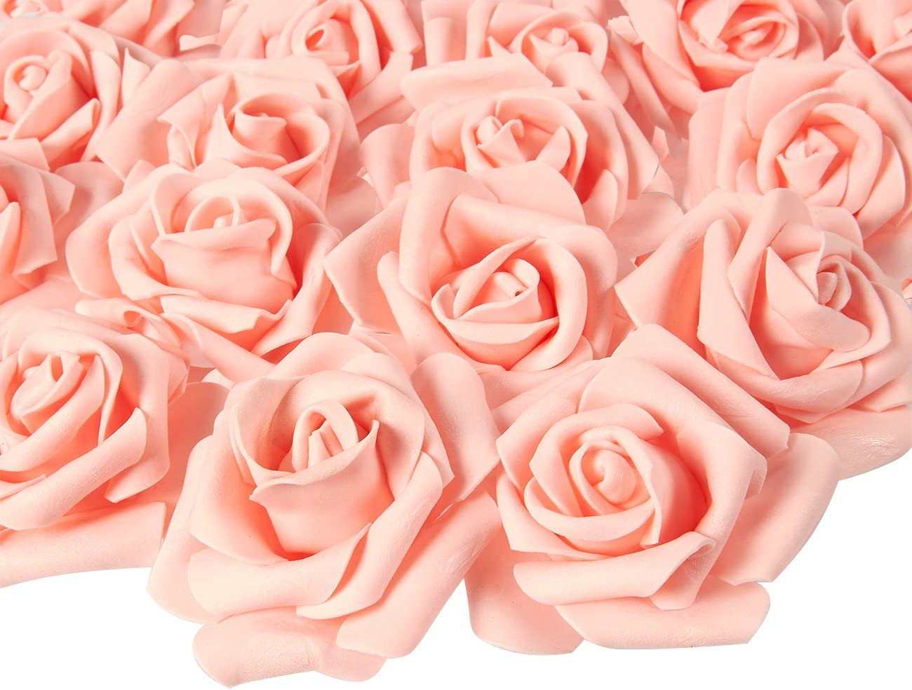 Juvale Rose Flower Heads - 100-Pack Stemless Artificial Roses, Perfect Wedding Decorations, Baby Showers, Crafts - Peach, 3 x 1.25 x 3 inches