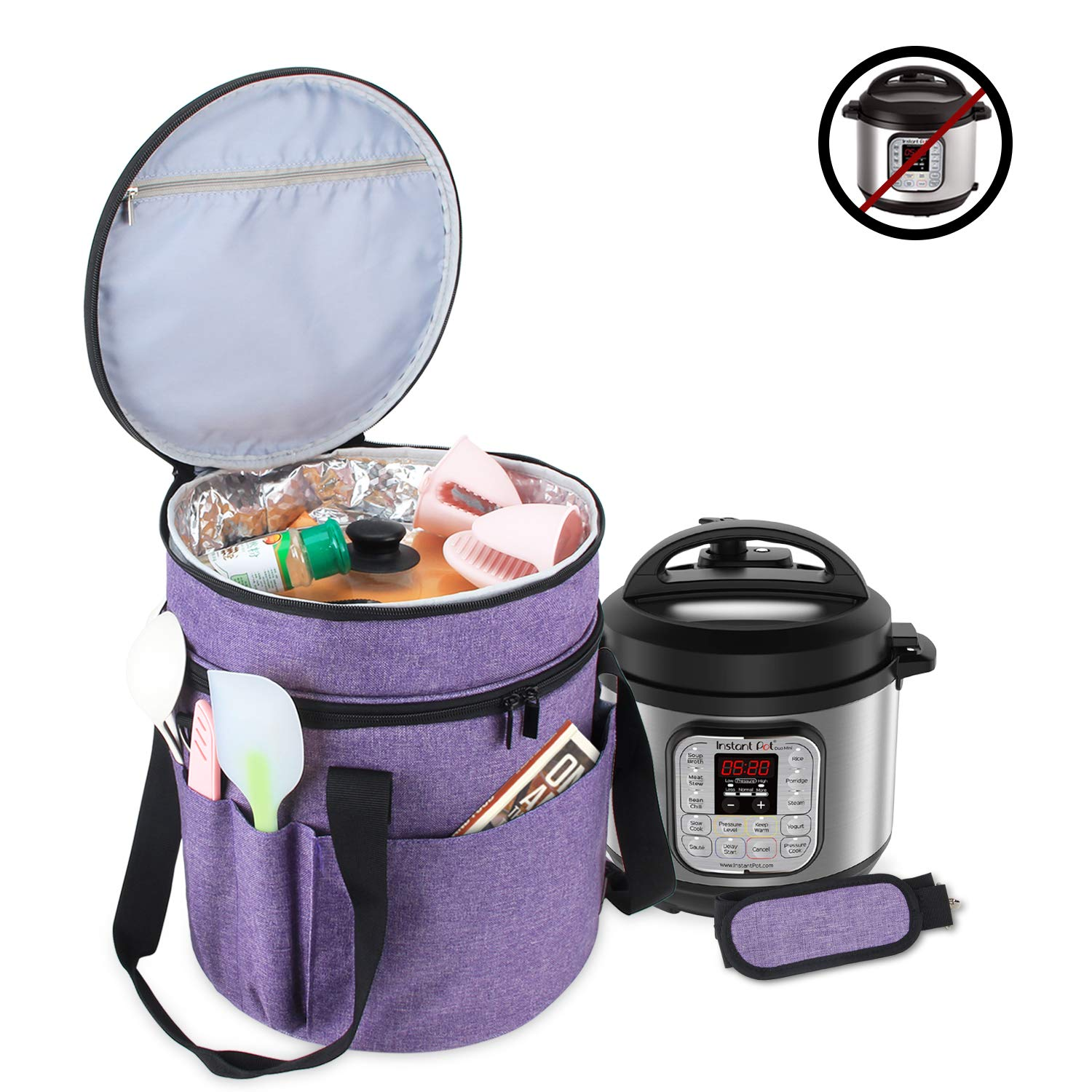 Luxja Carrying Bag Compatible with Instant Pot (3 Quart), Travel Tote Bag for 3 Quart Pressure Cooker and Extra Accessories, Purple