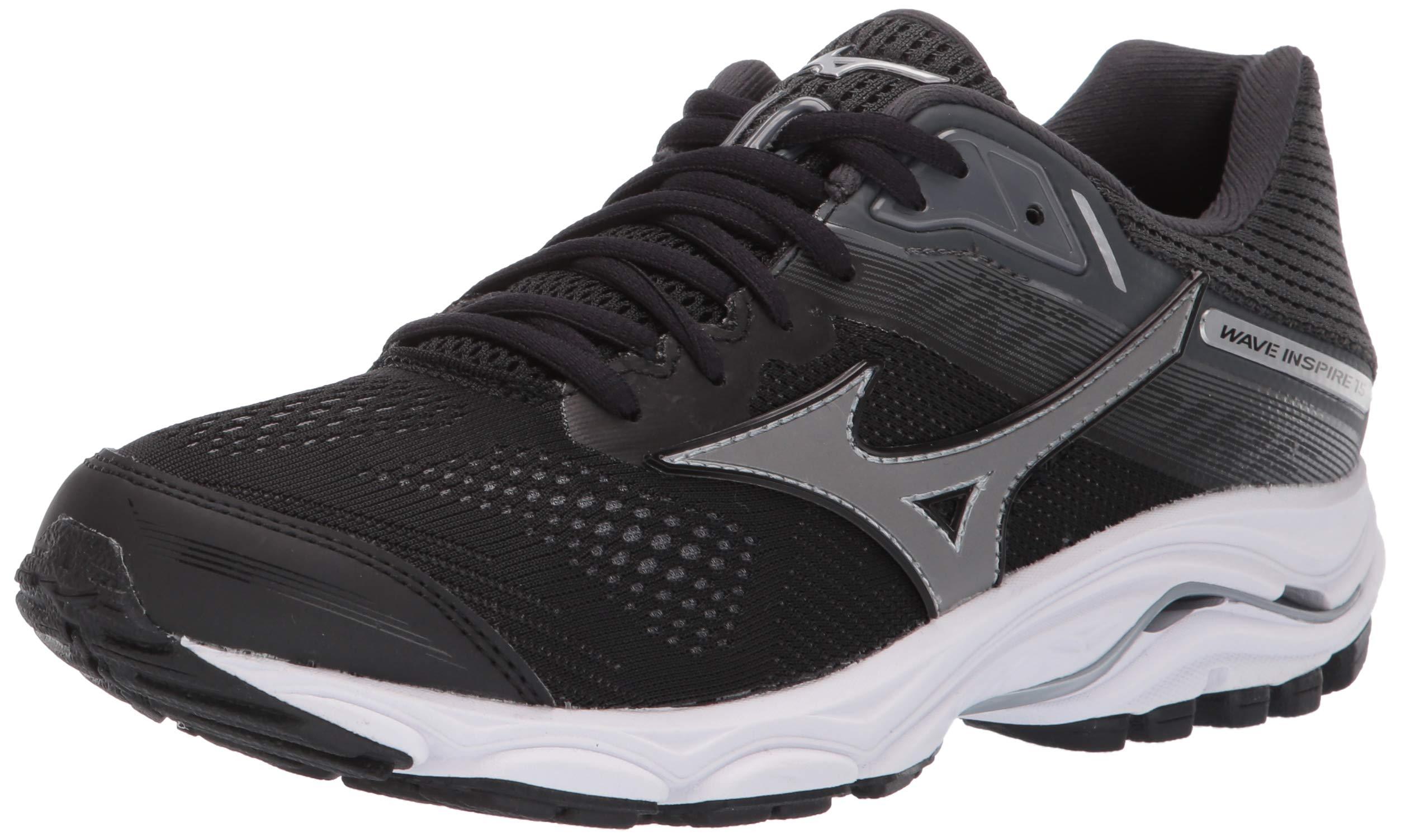 Mizuno Women's Wave Inspire 15 Running Shoe, Black-Dark Shadow 6 B US