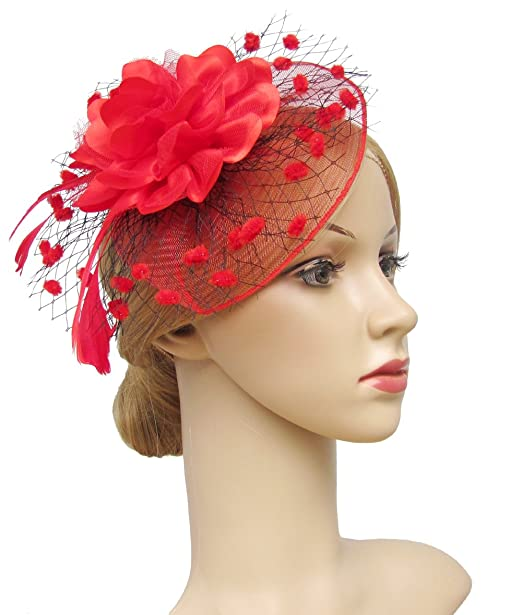 1950s Women's Hat Styles & History K.CLASSIC Fascinators Hats for Womens 50s Headwear with Veil Flower Cocktail Wedding Tea Party Hat $10.88 AT vintagedancer.com