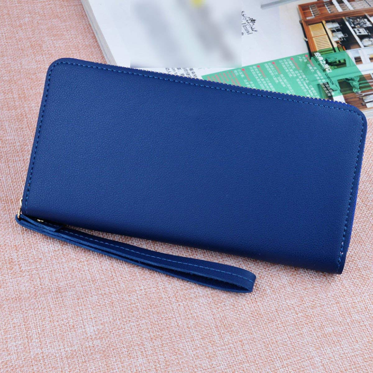B Cross Fashion Simple Long Zipper Ladies Wallet Large Capacity MultiCard Mobile Wallet Wallet with Hand Strap for Work (color   E)