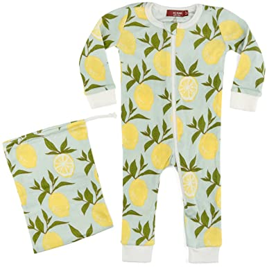 2878fc8fa Amazon.com  MilkBarn Organic Cotton Zipper Pajama Lemon  Clothing