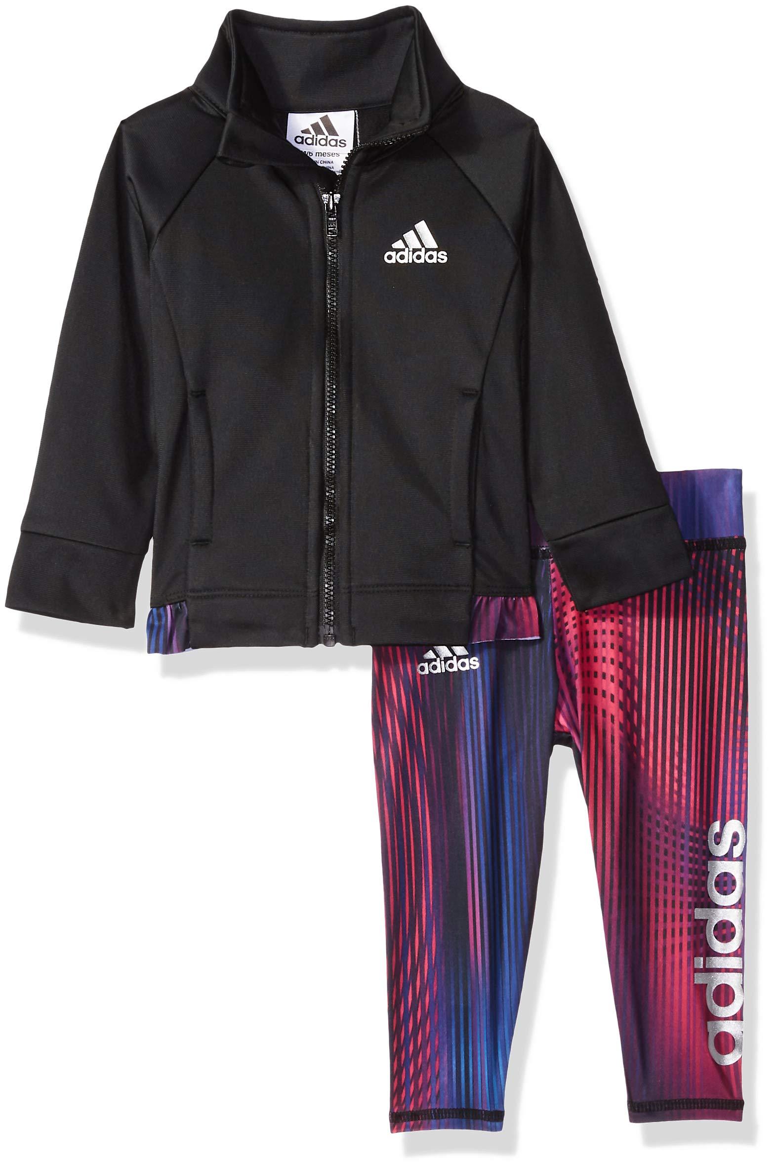 1b8567c7e Galleon - Adidas Baby Girls Zip Jacket And Pant Set, Black ADI 1, 12 Months