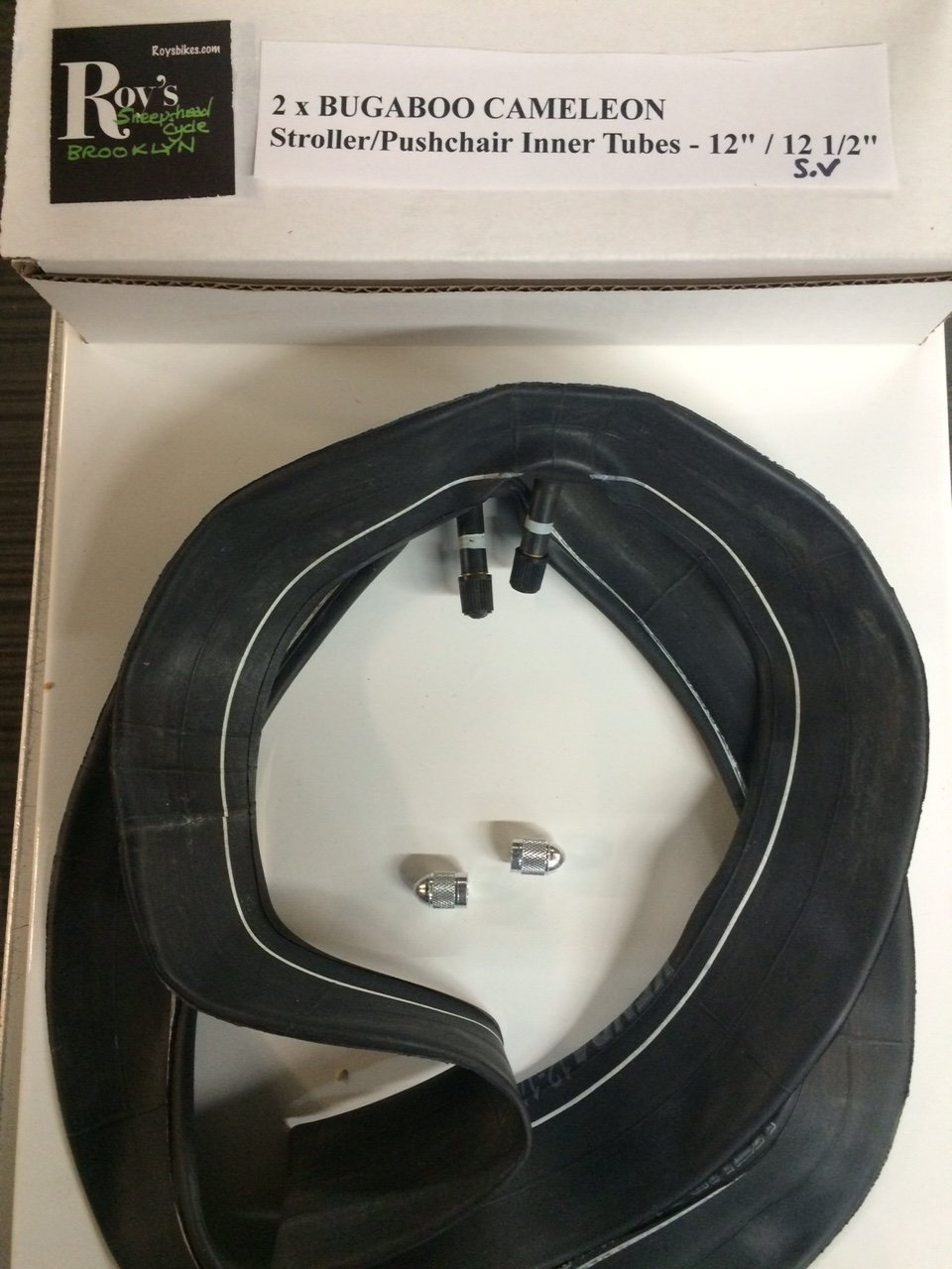 2 (Two) X Bugaboo Cameleon Stroller/pushchair Inner Tubes 12'' /12 1/2'' Straight Valve with Free Upgraded Valve Caps $4.99 Value
