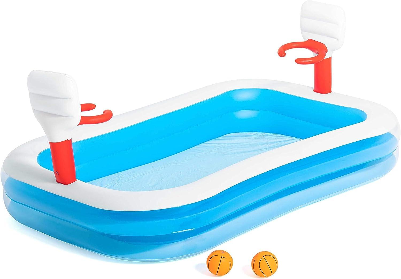 Piscina Hinchable Infantil con Canastas Baloncesto Bestway Basketball 254x168x102 cm