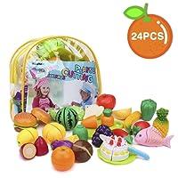 Shinehalo Jouet à Couper-Jeu de Cuisine Légumes Fruits Jouet Educatif pour Bébé et Enfants avec Sac Bon Cadeau Anniversaire Halloween Noël - 24PCS
