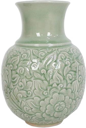 NOVICA Light Green Floral Celadon Ceramic Vase, Jade Landscape